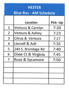 2020 - 2021 Weekly Updated School Bus Schedule