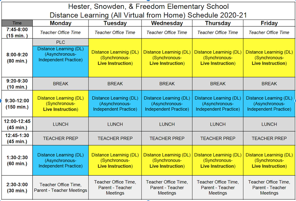 2020 Distance Learning Schedule/Horario  de Aprendizaje a Distancia- Hester, Snowden, Freedom