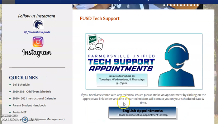 Farmersville Unified Tech Support Instructional Videos (English & Spanish)